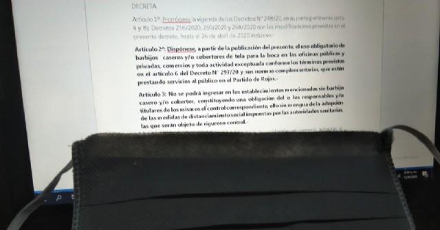 El Municipio de Rojas dispuso el uso obligatorio de barbijos caseros y/o cobertores de tela para la boca
